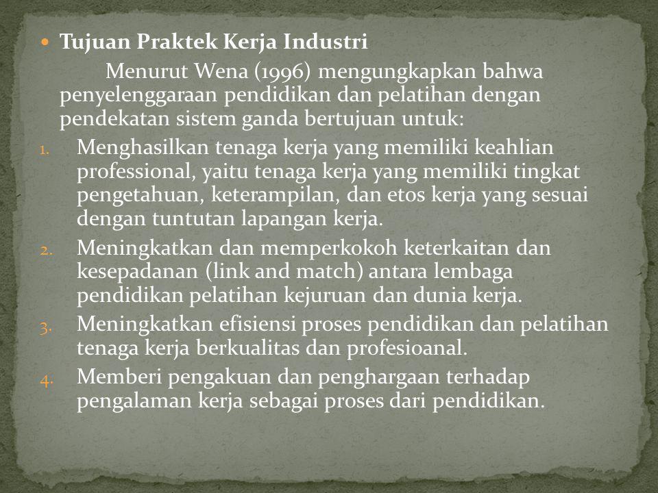 Tujuan Praktek Kerja Industri