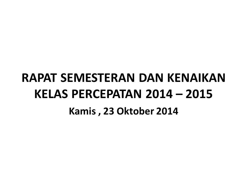 RAPAT SEMESTERAN DAN KENAIKAN KELAS PERCEPATAN 2014 – 2015