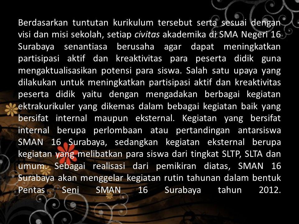 Berdasarkan tuntutan kurikulum tersebut serta sesuai dengan visi dan misi sekolah, setiap civitas akademika di SMA Negeri 16 Surabaya senantiasa berusaha agar dapat meningkatkan partisipasi aktif dan kreaktivitas para peserta didik guna mengaktualisasikan potensi para siswa.