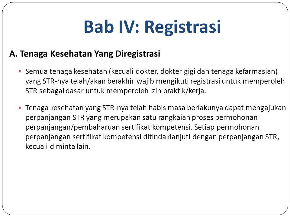 Bab IV: Registrasi A. Tenaga Kesehatan Yang Diregistrasi