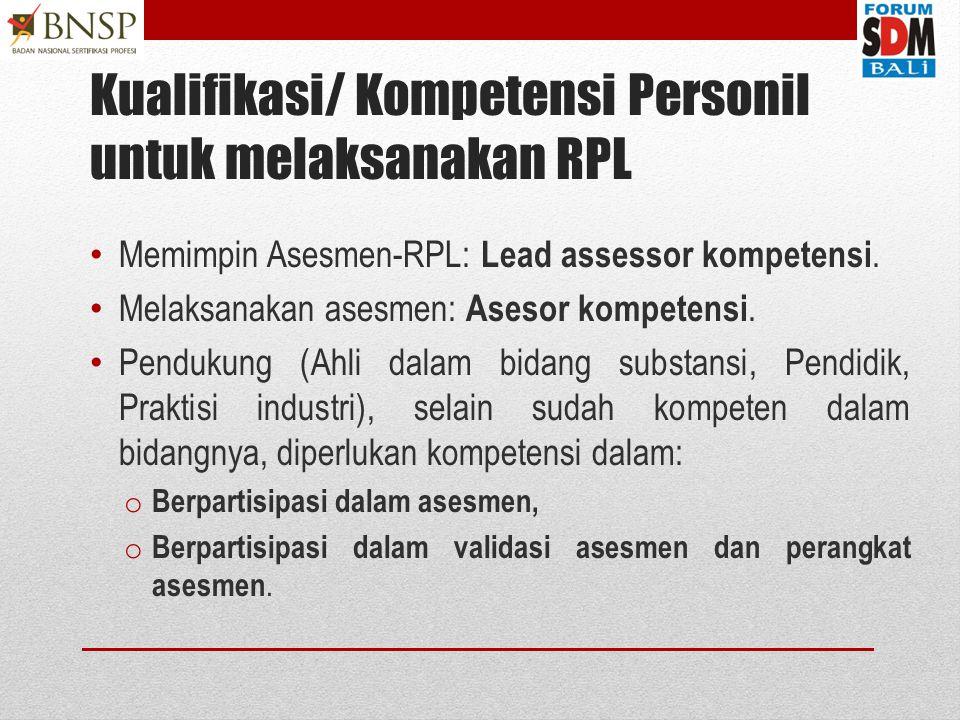 Kualifikasi/ Kompetensi Personil untuk melaksanakan RPL