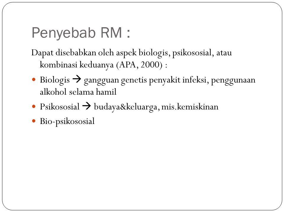 Penyebab RM : Dapat disebabkan oleh aspek biologis, psikososial, atau kombinasi keduanya (APA, 2000) :