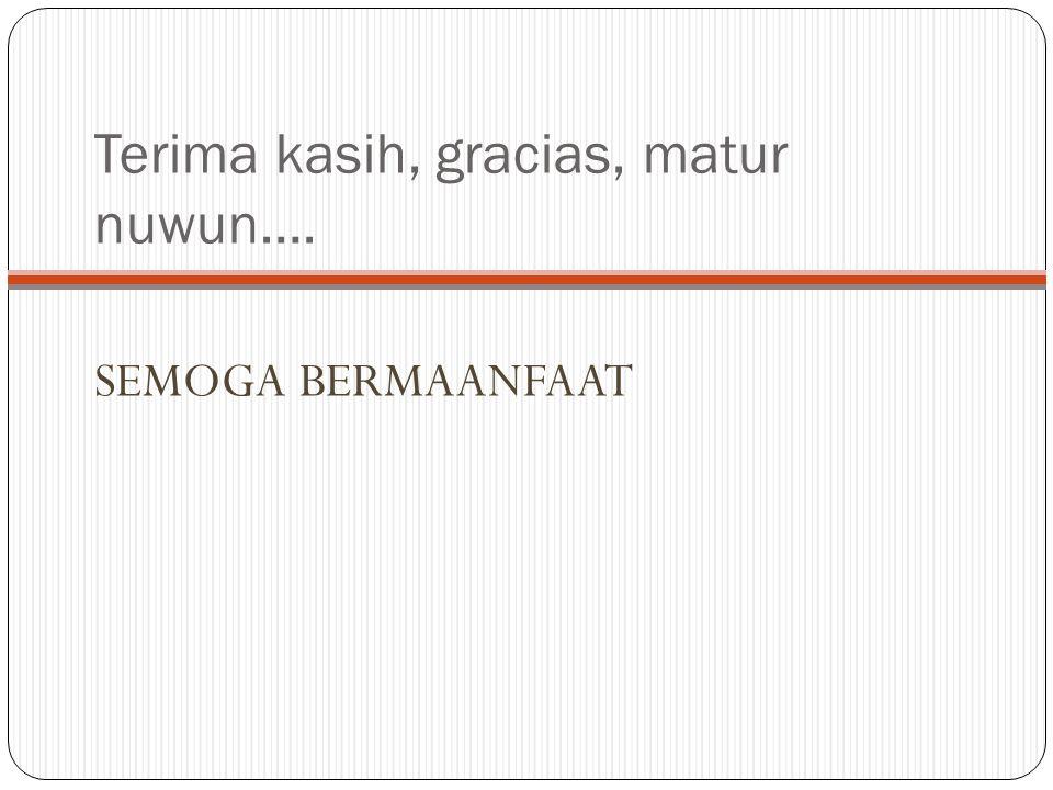 Terima kasih, gracias, matur nuwun….