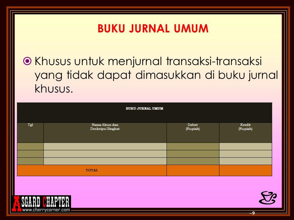 BUKU JURNAL UMUM Khusus untuk menjurnal transaksi-transaksi yang tidak dapat dimasukkan di buku jurnal khusus.