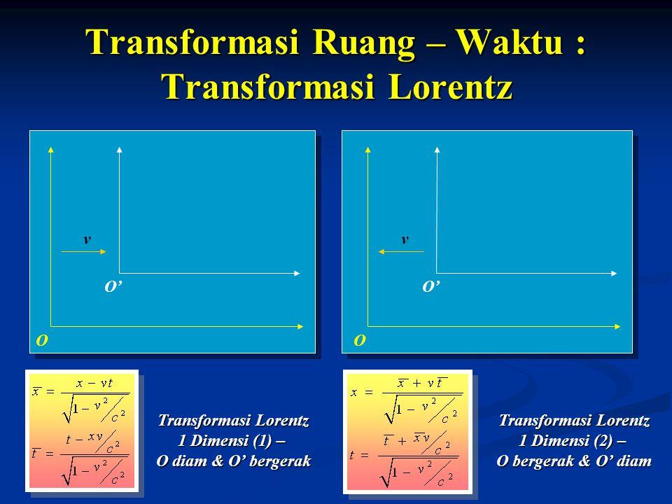 Transformasi Ruang – Waktu : Transformasi Lorentz