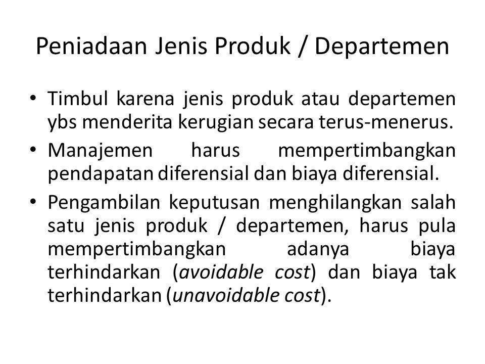 Peniadaan Jenis Produk / Departemen