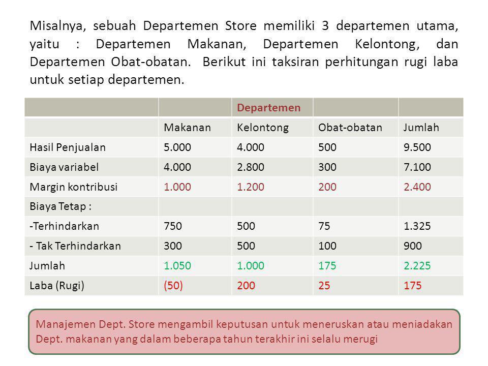 Misalnya, sebuah Departemen Store memiliki 3 departemen utama, yaitu : Departemen Makanan, Departemen Kelontong, dan Departemen Obat-obatan. Berikut ini taksiran perhitungan rugi laba untuk setiap departemen.