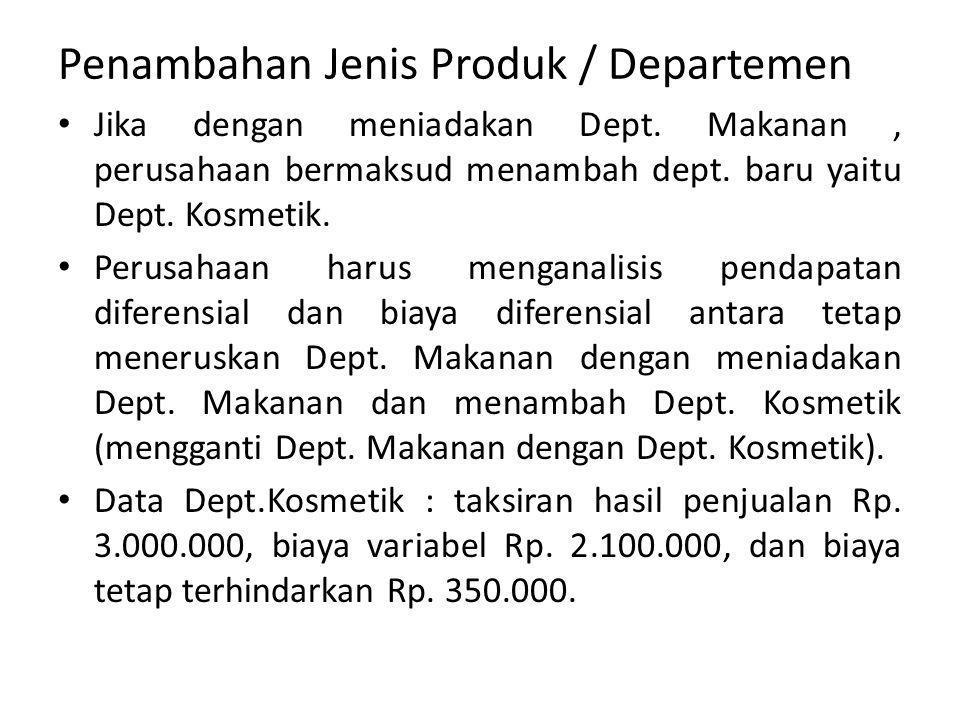 Penambahan Jenis Produk / Departemen