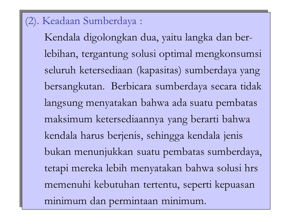 (2). Keadaan Sumberdaya :