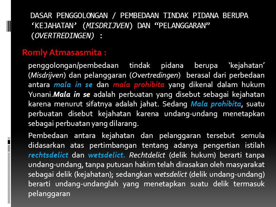 DASAR PENGGOLONGAN / PEMBEDAAN TINDAK PIDANA BERUPA 'KEJAHATAN' (MISDRIJVEN) DAN PELANGGARAN (OVERTREDINGEN) :