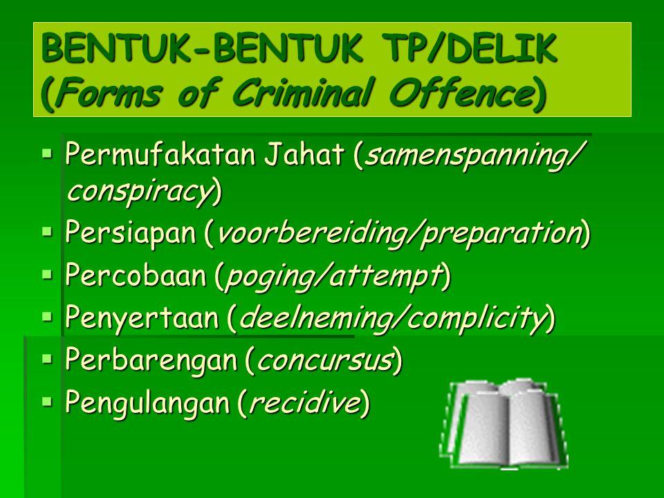 BENTUK-BENTUK TP/DELIK (Forms of Criminal Offence)