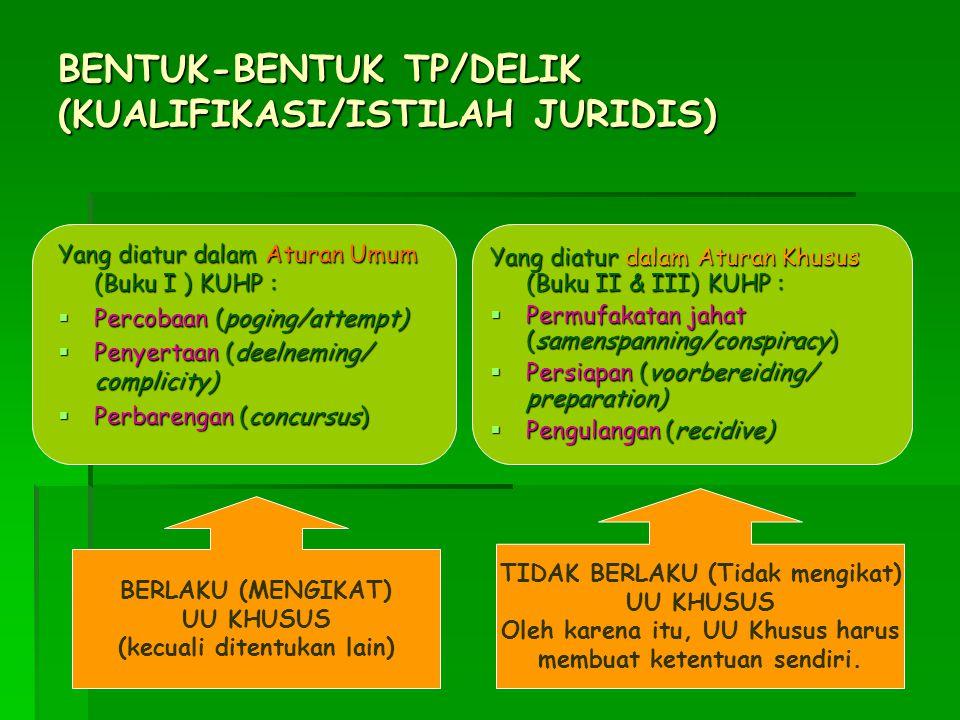 BENTUK-BENTUK TP/DELIK (KUALIFIKASI/ISTILAH JURIDIS)
