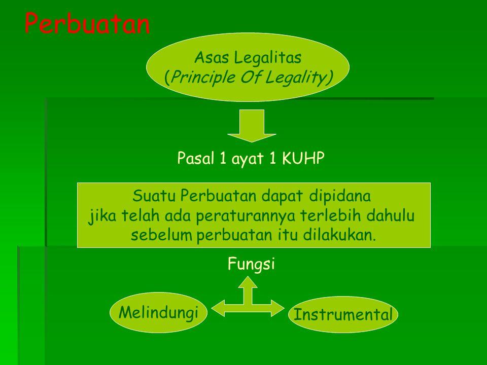 Perbuatan Asas Legalitas (Principle Of Legality) Pasal 1 ayat 1 KUHP
