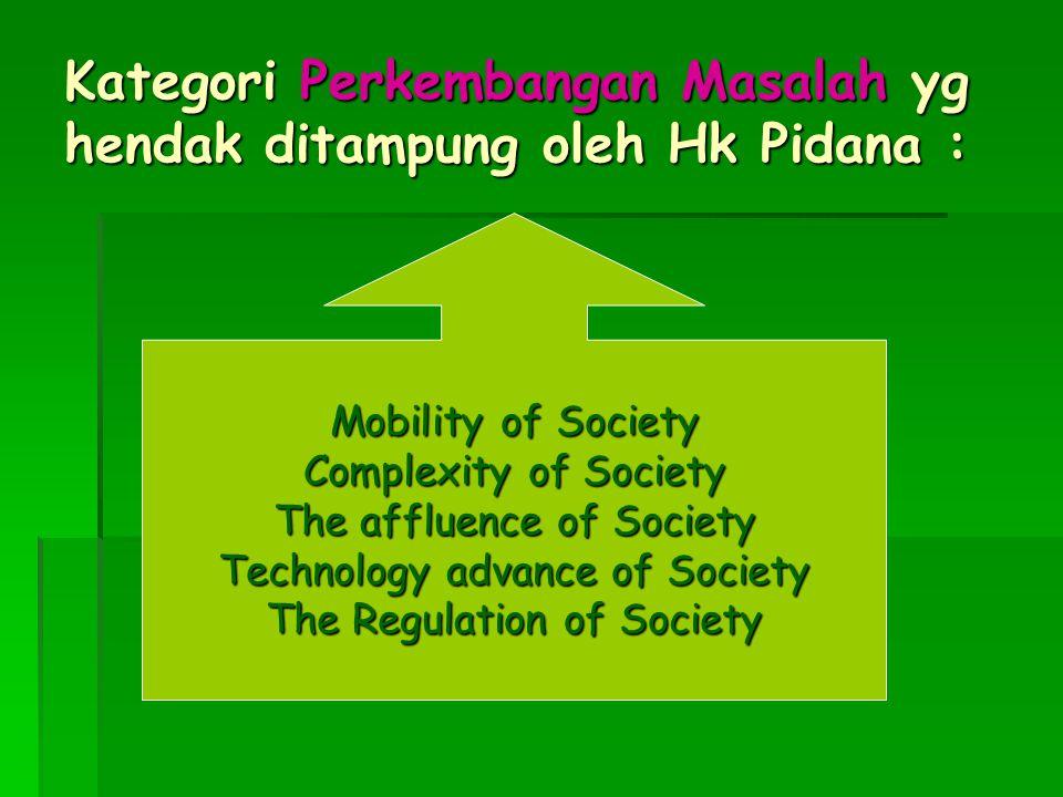 Kategori Perkembangan Masalah yg hendak ditampung oleh Hk Pidana :