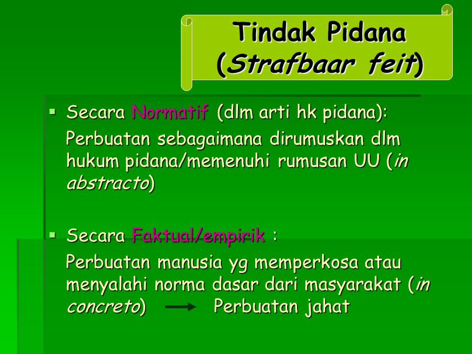 Tindak Pidana (Strafbaar feit)