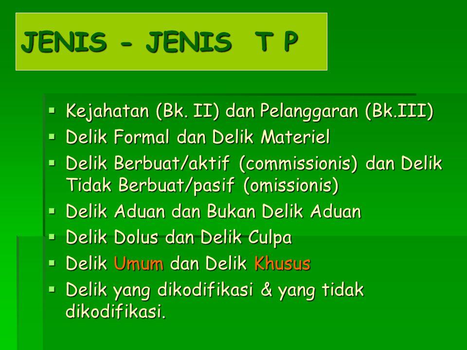 JENIS - JENIS T P Kejahatan (Bk. II) dan Pelanggaran (Bk.III)
