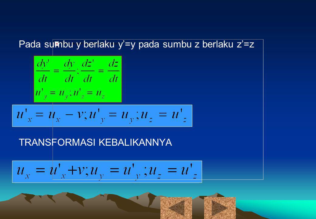 Pada sumbu y berlaku y'=y pada sumbu z berlaku z'=z