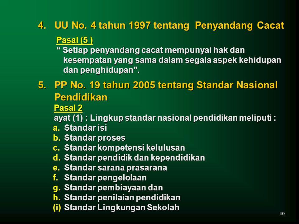 4. UU No. 4 tahun 1997 tentang Penyandang Cacat