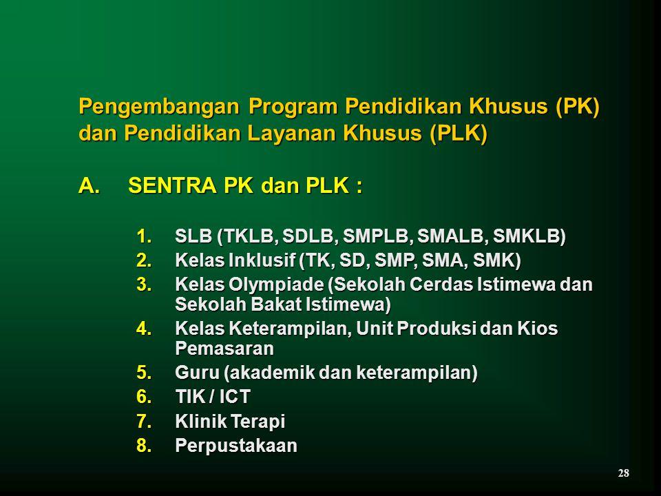 Pengembangan Program Pendidikan Khusus (PK) dan Pendidikan Layanan Khusus (PLK)