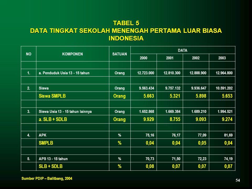 TABEL 5 DATA TINGKAT SEKOLAH MENENGAH PERTAMA LUAR BIASA INDONESIA