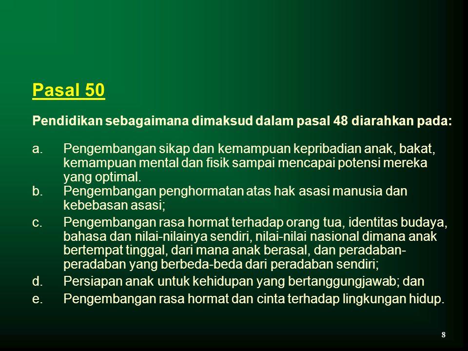 Pasal 50 Pendidikan sebagaimana dimaksud dalam pasal 48 diarahkan pada: