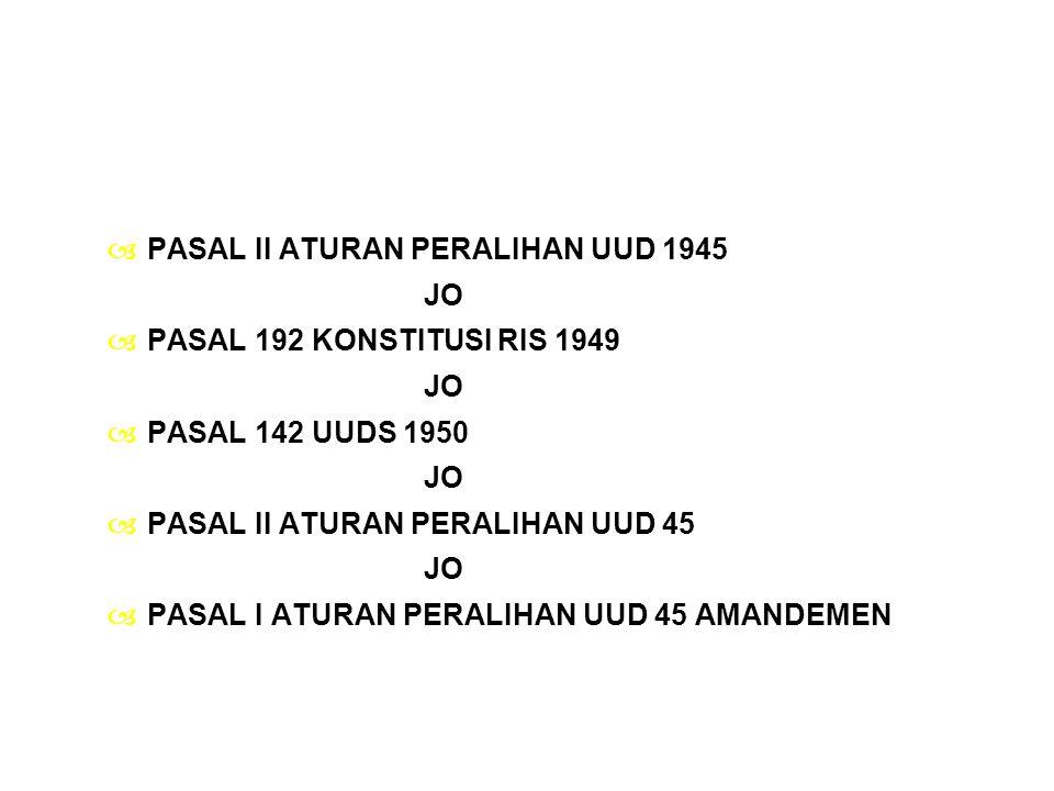 PASAL II ATURAN PERALIHAN UUD 1945