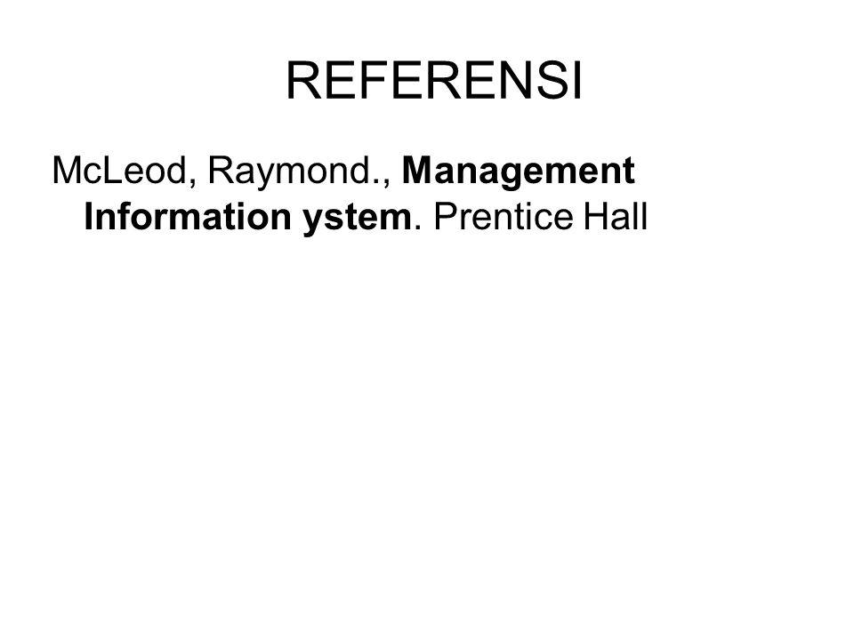 REFERENSI McLeod, Raymond., Management Information ystem. Prentice Hall