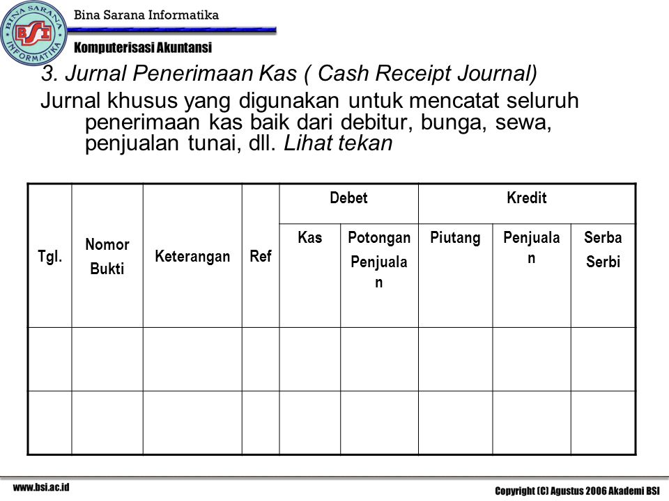 3. Jurnal Penerimaan Kas ( Cash Receipt Journal)