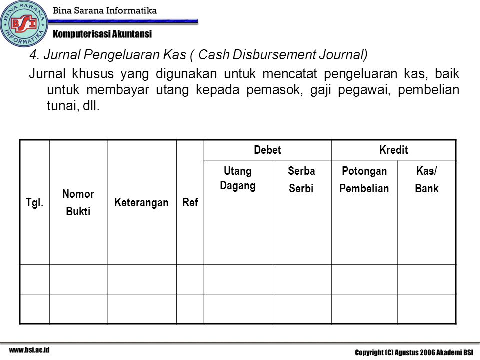 4. Jurnal Pengeluaran Kas ( Cash Disbursement Journal)