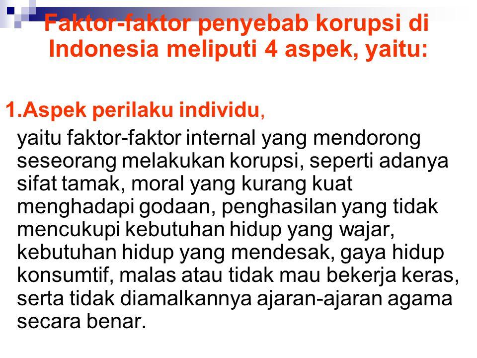 Faktor-faktor penyebab korupsi di Indonesia meliputi 4 aspek, yaitu: