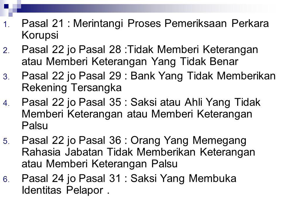 Pasal 21 : Merintangi Proses Pemeriksaan Perkara Korupsi