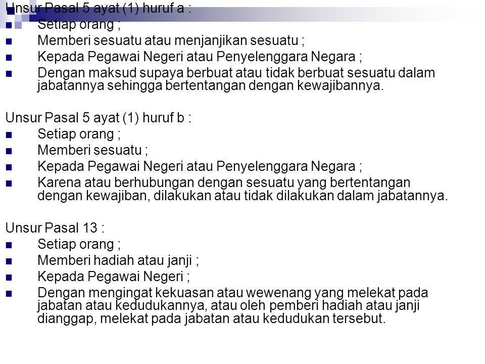 Unsur Pasal 5 ayat (1) huruf a :