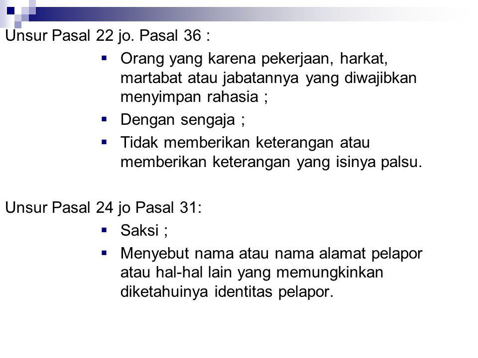 Unsur Pasal 22 jo. Pasal 36 : Orang yang karena pekerjaan, harkat, martabat atau jabatannya yang diwajibkan menyimpan rahasia ;