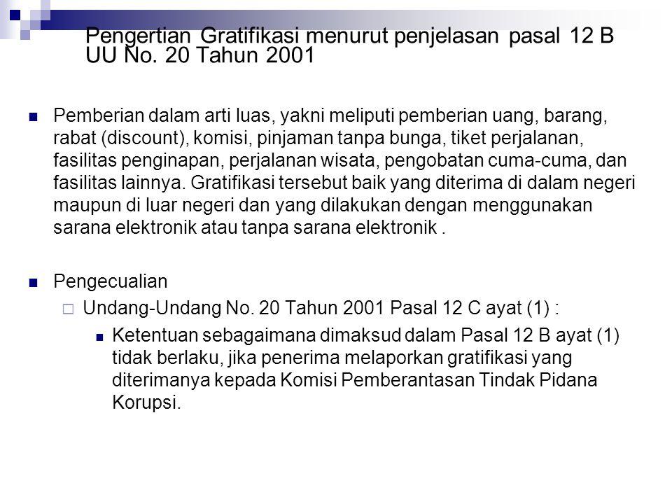 Pengertian Gratifikasi menurut penjelasan pasal 12 B UU No