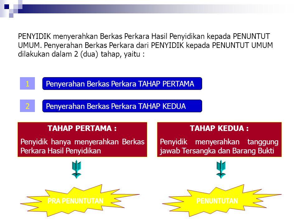 PENYIDIK menyerahkan Berkas Perkara Hasil Penyidikan kepada PENUNTUT UMUM. Penyerahan Berkas Perkara dari PENYIDIK kepada PENUNTUT UMUM dilakukan dalam 2 (dua) tahap, yaitu :