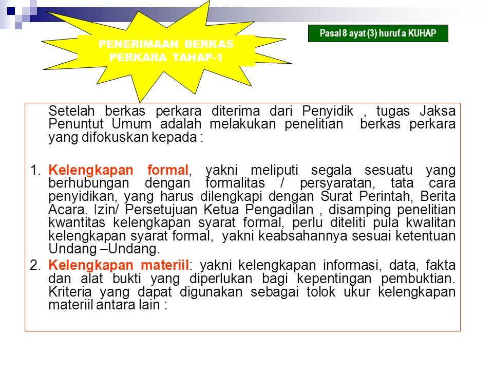PENERIMAAN BERKAS PERKARA TAHAP-1