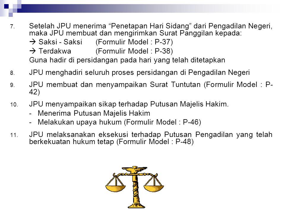 Setelah JPU menerima Penetapan Hari Sidang dari Pengadilan Negeri, maka JPU membuat dan mengirimkan Surat Panggilan kepada: