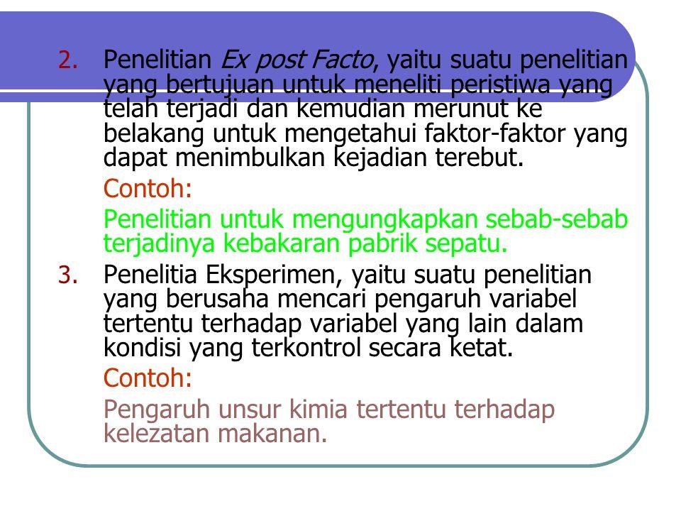 Penelitian Ex post Facto, yaitu suatu penelitian yang bertujuan untuk meneliti peristiwa yang telah terjadi dan kemudian merunut ke belakang untuk mengetahui faktor-faktor yang dapat menimbulkan kejadian terebut.