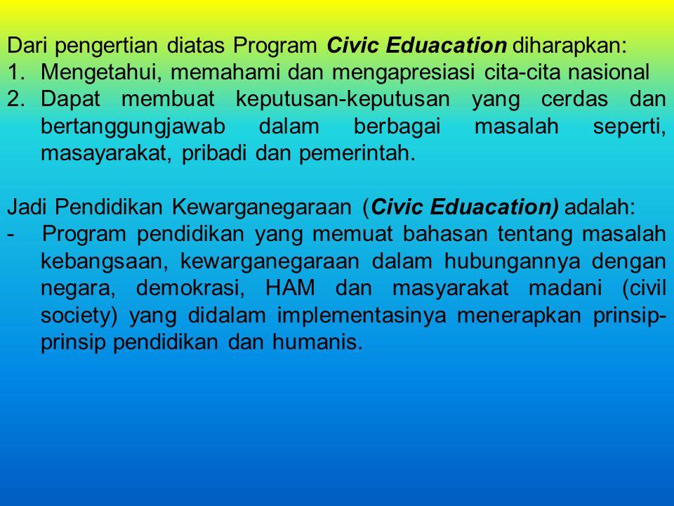 Dari pengertian diatas Program Civic Eduacation diharapkan: