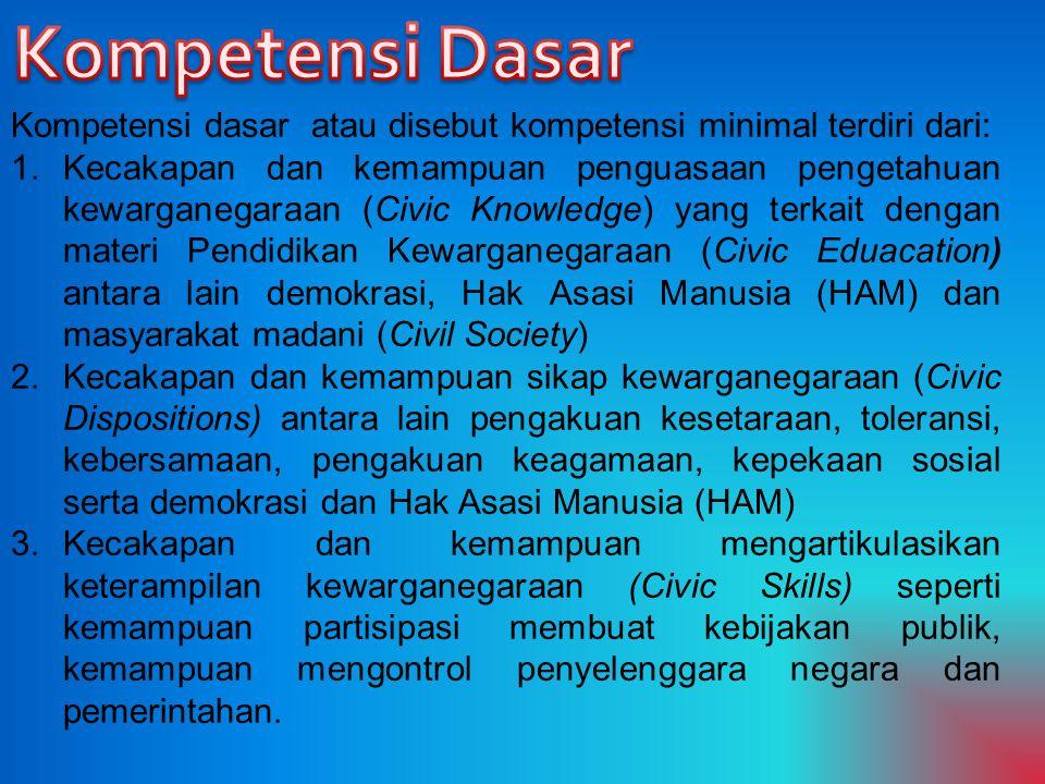 Kompetensi Dasar Kompetensi dasar atau disebut kompetensi minimal terdiri dari: