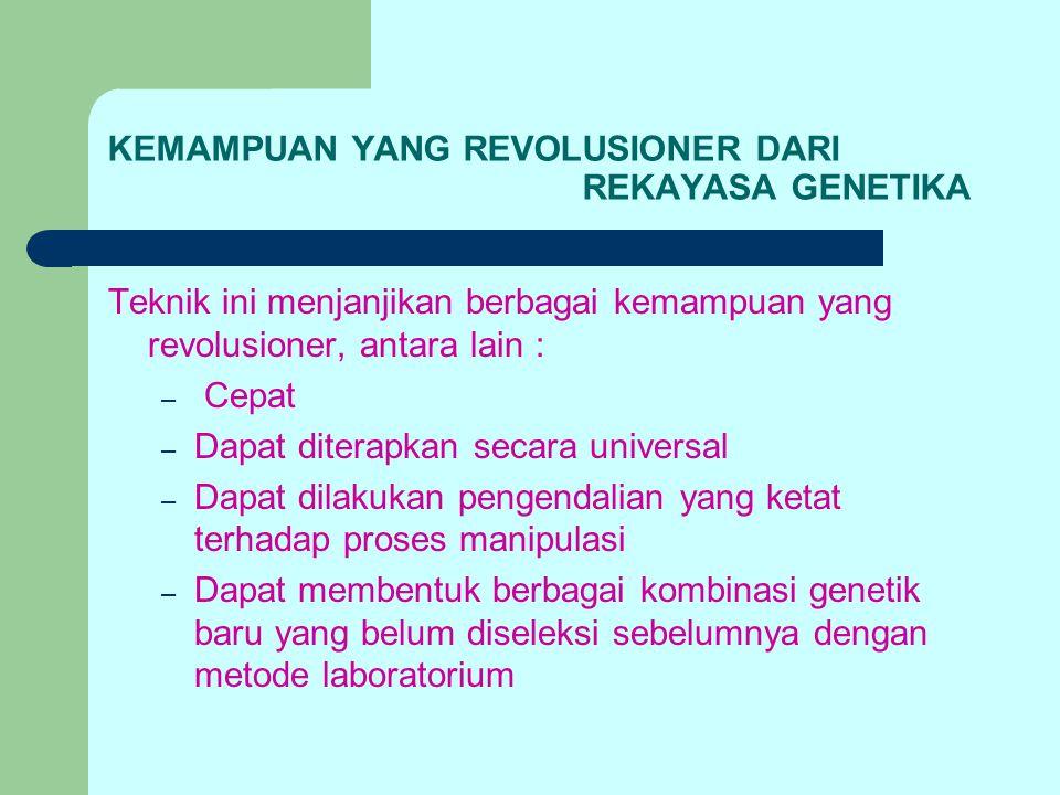 KEMAMPUAN YANG REVOLUSIONER DARI REKAYASA GENETIKA