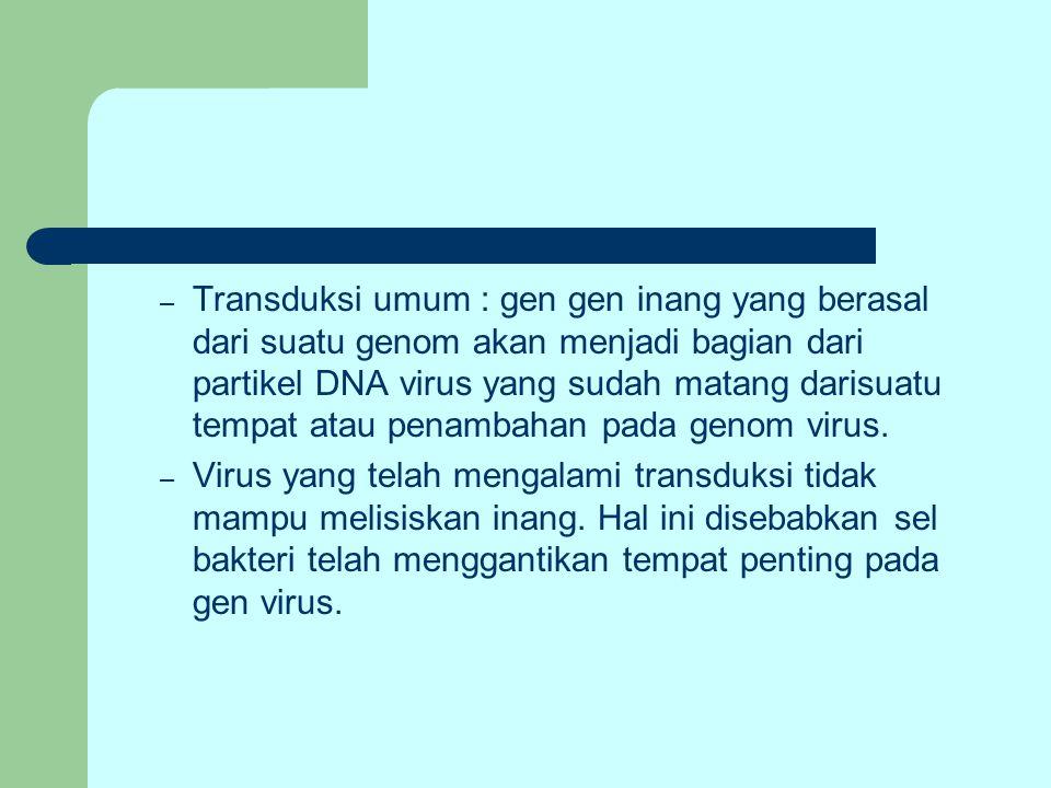Transduksi umum : gen gen inang yang berasal dari suatu genom akan menjadi bagian dari partikel DNA virus yang sudah matang darisuatu tempat atau penambahan pada genom virus.