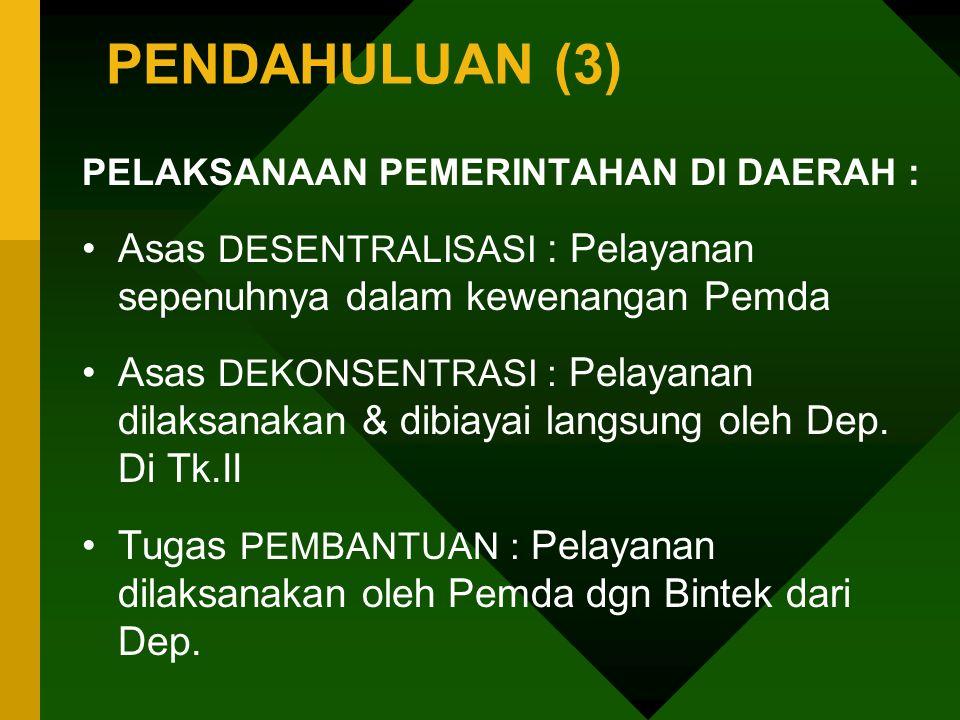 PENDAHULUAN (3) PELAKSANAAN PEMERINTAHAN DI DAERAH : Asas DESENTRALISASI : Pelayanan sepenuhnya dalam kewenangan Pemda.