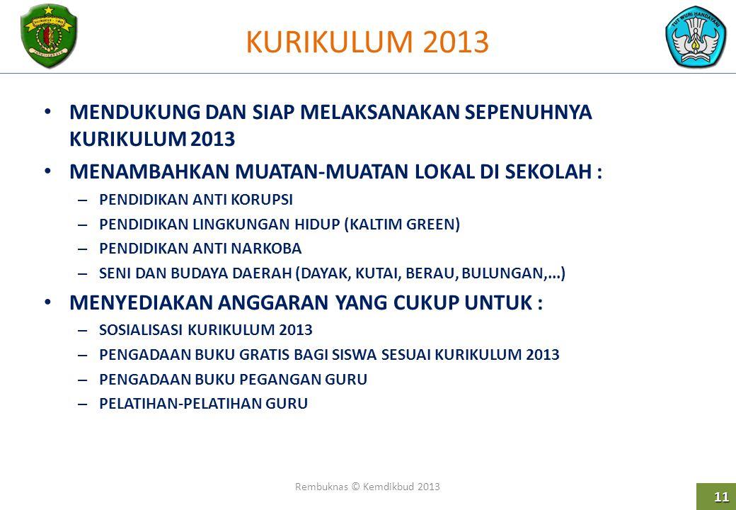 KURIKULUM 2013 MENDUKUNG DAN SIAP MELAKSANAKAN SEPENUHNYA KURIKULUM 2013. MENAMBAHKAN MUATAN-MUATAN LOKAL DI SEKOLAH :