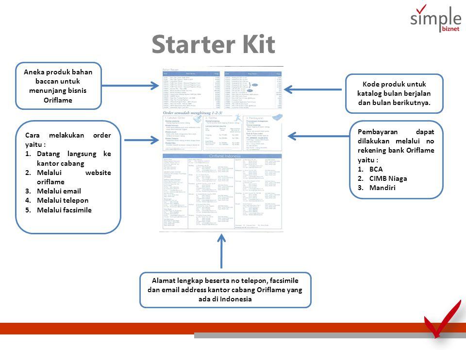 Starter Kit Aneka produk bahan baccan untuk menunjang bisnis Oriflame