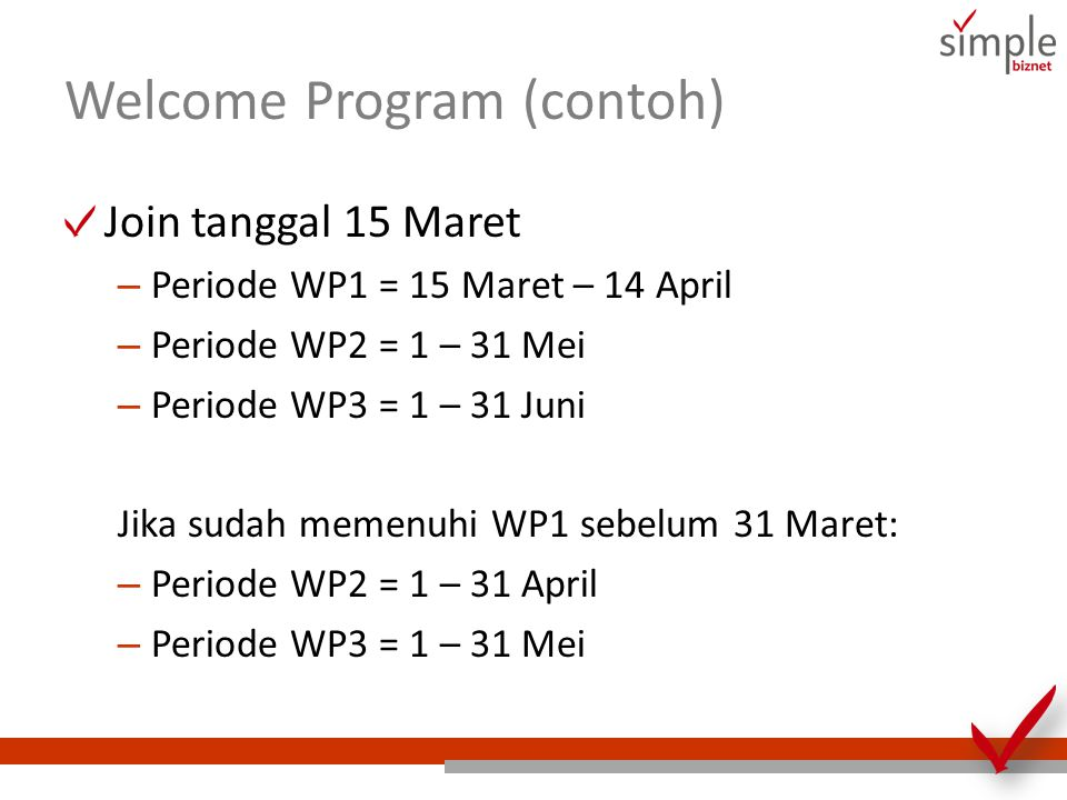 Welcome Program (contoh)