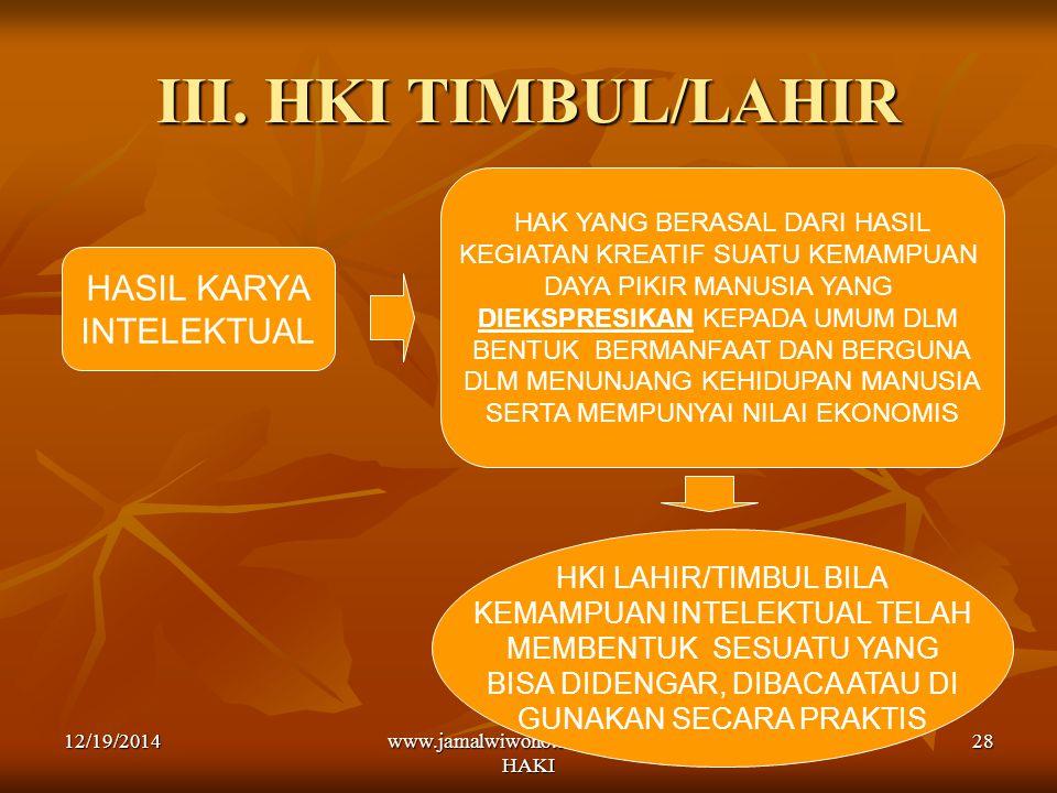 III. HKI TIMBUL/LAHIR HASIL KARYA INTELEKTUAL HKI LAHIR/TIMBUL BILA