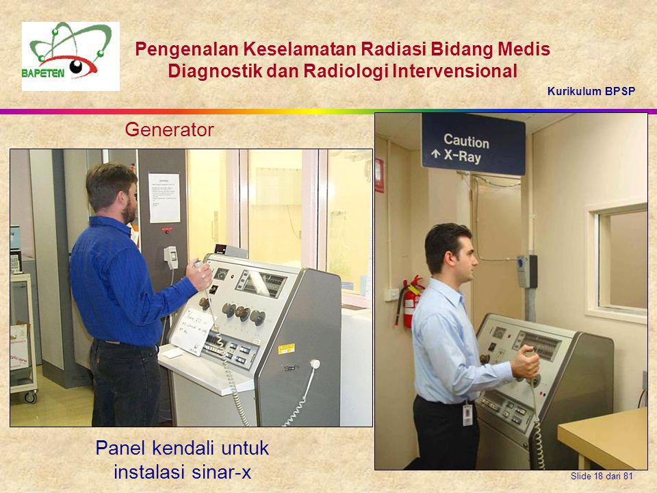Panel kendali untuk instalasi sinar-x