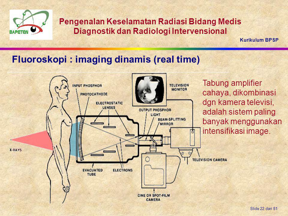 Fluoroskopi : imaging dinamis (real time)
