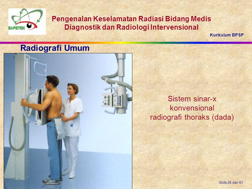 Radiografi Umum Sistem sinar-x konvensional radiografi thoraks (dada)